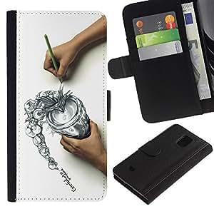 LASTONE PHONE CASE / Lujo Billetera de Cuero Caso del tirón Titular de la tarjeta Flip Carcasa Funda para Samsung Galaxy S5 Mini, SM-G800, NOT S5 REGULAR! / Draw Sketch Careful Think Spill