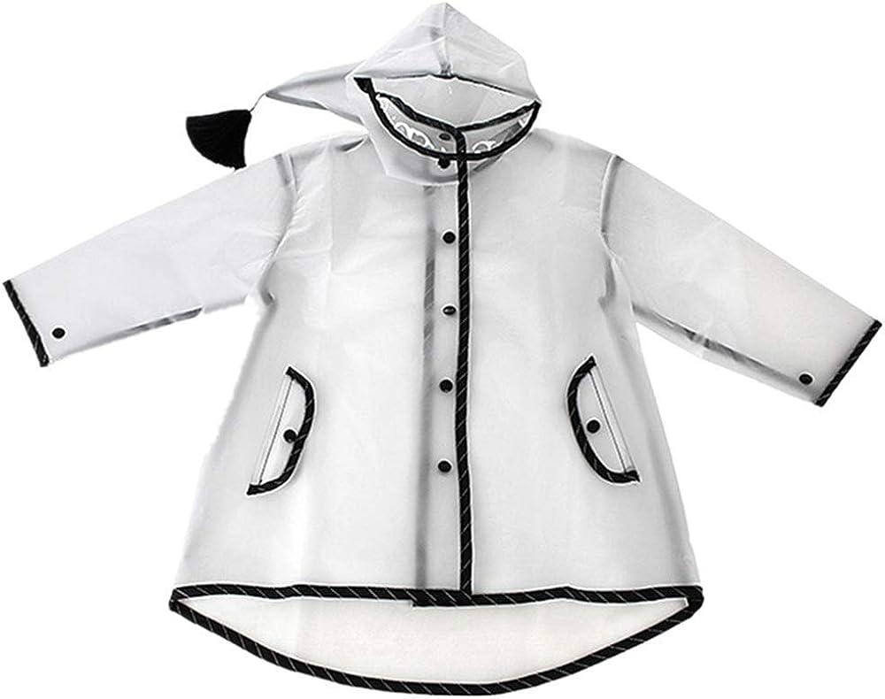 ThyWay Hooded Transparent Raincoat for Kids Girls Boys Lightweight Waterproof Rain Jacket Coat/Portable Poncho Rainwear