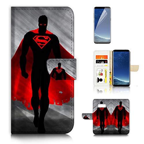 (for Samsung S8, Galaxy S8) Flip Wallet Case Cover & Screen Protector Bundle - A21693 -