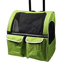 Meiying Roll Around 4-in-1 Pet Carrier Travel Backpack for Dogs and Cats Travel Tote Airline Approved (Pets up to 17 Pounds, Green)