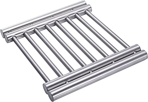 Stainless Steel Extendable Trivet - Pot Holder Rack to Protect Tables and Counters from Hot Plates, Oven Pans, Hot Pot Expandable Metal Trivets by Pro Chef Kitchen Tools