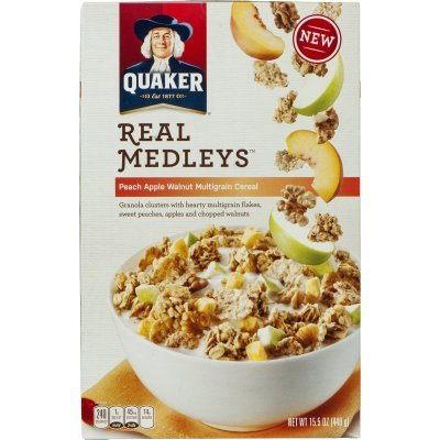 (Quaker, Real Medleys Cereal, Peach Apple Walnut, Multigrain, 15.5oz Box (Pack of)