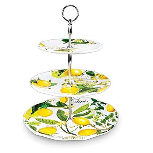 Michel Design Works 3-Tier Adjustable Melamine Buffet or Dessert Stand, Lemon Basil