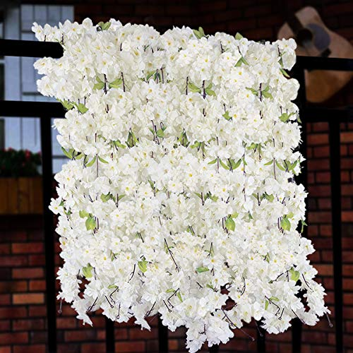 Sunm boutique Artificial Cherry Blossom Wall Hanging Vine Silk Flower Garland Wedding Party Home Decor (White, Pack of 2)