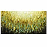 Metuu Modern Canvas Paintings, Texture Palette Knife Paintings Modern Home Decor Wall Art Painting Colorful Wood Inside Framed Ready to hang 24x48inch