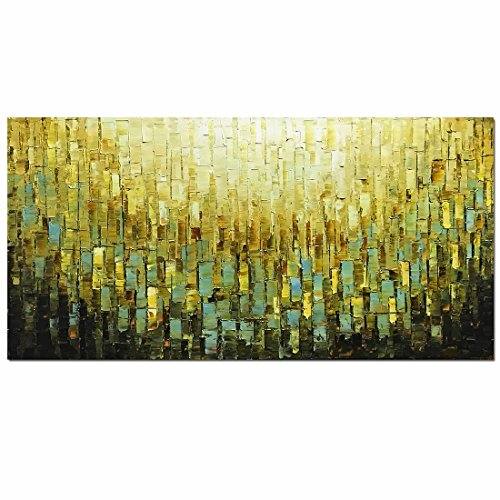 Metuu Modern Canvas Paintings, Texture Palette Knife Paintings Home Decor Wall Art Colorful 3D Wall Decoration Abstract Painting Wood Inside Framed Ready to Hang 20x40inch by Metuu