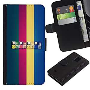 LECELL--Cuero de la tarjeta la carpeta del tirón Smartphone Slots Protección Holder For Samsung Galaxy S5 Mini, SM-G800 -- Generaciones de Game Boy --