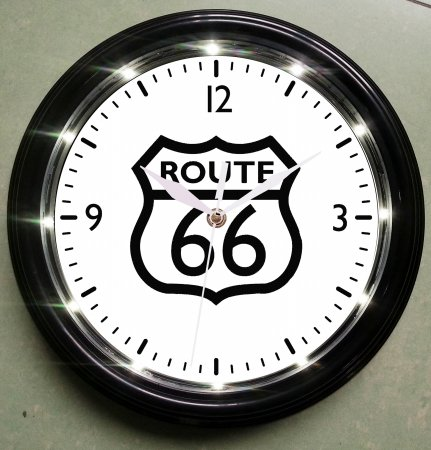 Creative Motion 14142-5 Battery Operated LED Clock with Black and White Route On The Clock Face