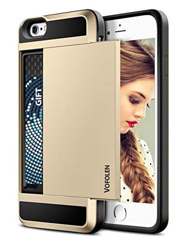 Trim Area License (iPhone 6 Plus Case, Vofolen Impact Resistant iPhone 6S Plus Wallet Case Anti-Scratch Protective Shell Shockproof Rubber Bumper Cover Card Slot Holder for iPhone 6+ 6S Plus 5.5 inch (Gold))