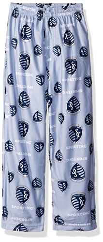 MLS Kansas City Sporting BoysAll Over Team Logo Sleepwear Printed Pants, Smoke Blue, Large (14-16)