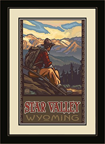 Northwest Art Mall PAL-6477 FGDM MHM Star Valley Wyoming Mountain Hiker Man Framed Wall Art by Artist Paul A. Lanquist, 16 x - Wyoming Valley Mall