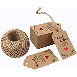 G2PLUS 100PCS Wedding Favor Gift Tags, 7cm X 4cm Paper Tags Craft Hang Tags with 100 Feet Twine for DIY & Gift Wrapping- Thank You for Sharing Our Special Day
