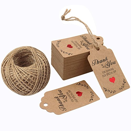 G2PLUS Original Design 100PCS Wedding Favor Gift Tags, 7cm X 4cm Paper Tags Craft Hang Tags with 100 Feet Twine for DIY & Gift Wrapping- Thank You for Sharing Our Special Day ()