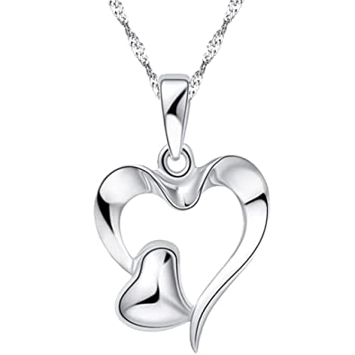 e683b126c Image Unavailable. Image not available for. Color: 925 Sterling Silver  Double Heart Hollow Pendant Charms Necklace ...