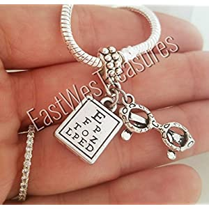 EWT Eyeglasses Eye chart Vision Test Optician Optometrist Ophthalmologist charm Pendant for all brand & European charm bracelet and any chain necklace