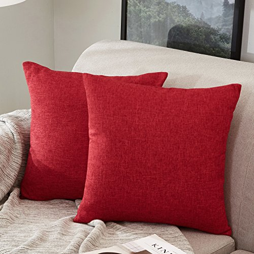 MERNETTE Pack of 2, Cotton Linen Blend Decorative Square Throw Pillow Cover Cushion Covers Pillowcase, Home Decor Decorations for Sofa Couch Bed Chair 18x18 Inch/45x45 cm (Red)
