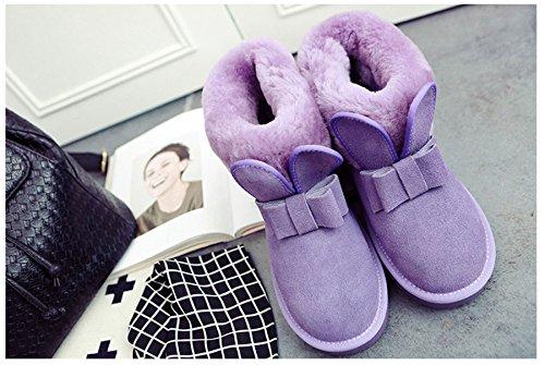 Chaussure D'hiver D'oreille Jrenok En Bottine De Conception Nœud Peluche Neige Confortable Velours Lapin Violet Avec Papillon FwwpTqvn