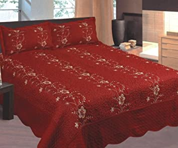 Burgundy And Gold Embroidered 3pc Bed Quilt W/ Pillow Shams King Size