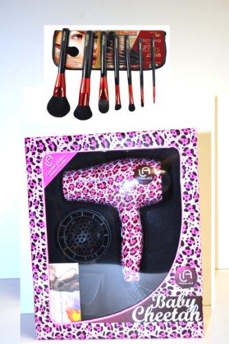 Bundle 2 Items Le Angelique Travel Hair Dryer Baby Chitta 1200w Dual Voltage +ITAY Mineral Makeup Professional Bush Set with Travel Bag (Le Angelique Blow Dryer)