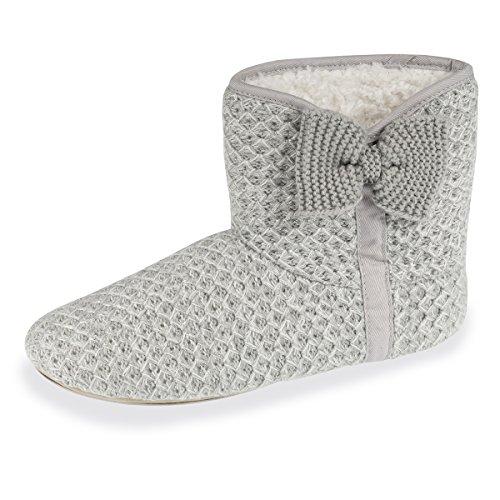 Slipper Women's Boots Isotoner Shiny Grey qxYYwC