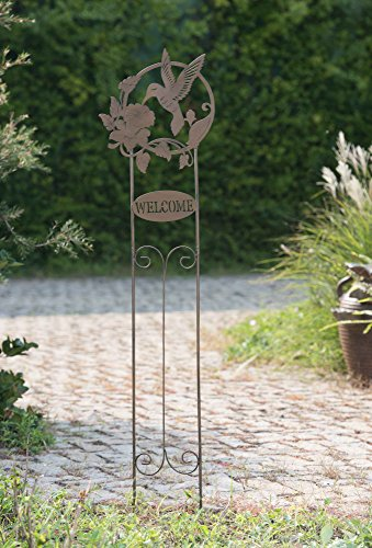 Sunjoy 110309057 Welcome Hummingbird Garden Stake, Brown