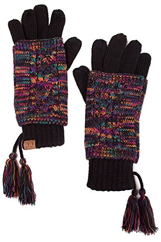 ScarvesMe CC Two Tone Double Layer Gloves with Tassel (Multi) by ScarvesMe