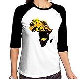 Fuucc-6 Women Africa Wild 3/4 Sleeve Jersey Shirt Raglan Baseball Jersey
