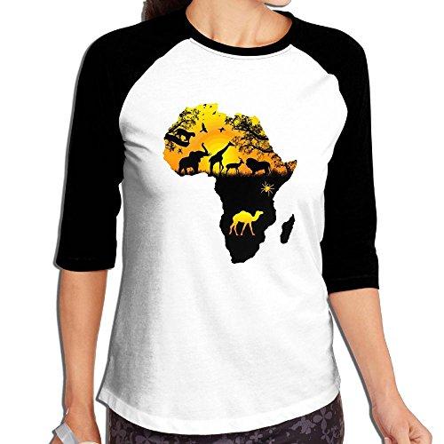Fuucc-6 Women Africa Wild 3/4 Sleeve Jersey Shirt Raglan Baseball Jersey by Fuucc-6