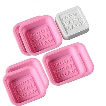 6-Pack 100% hecha a mano de jabón Moldes DIY cuadrado moldes de silicona para hornear molde para Manualidades Art hacer herramienta: Amazon.es: Juguetes y ...