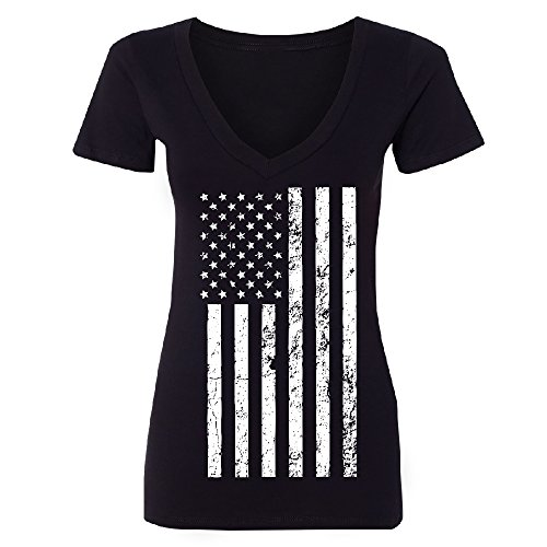 July Womens V-neck T-shirt - Christmas Ugly Sweater Co Distressed White American Flag Women's Deep V-Neck 4th of July Patriotic Tee Black XX-Large
