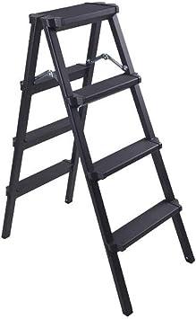 Taburete Plegable Escalera 4 Peldaños, Escalera De Dos Lados De Aluminio Plegable, Taburete De Peldaño Tipo A Plegable, Carga De 150 Kg (Color : Black): Amazon.es: Bricolaje y herramientas