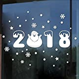 XINDEEK Christmas Home Decor Wall Sticker Mural Decal Window Door Treatment Removable Snowmen Snowflake Ornaments(White)