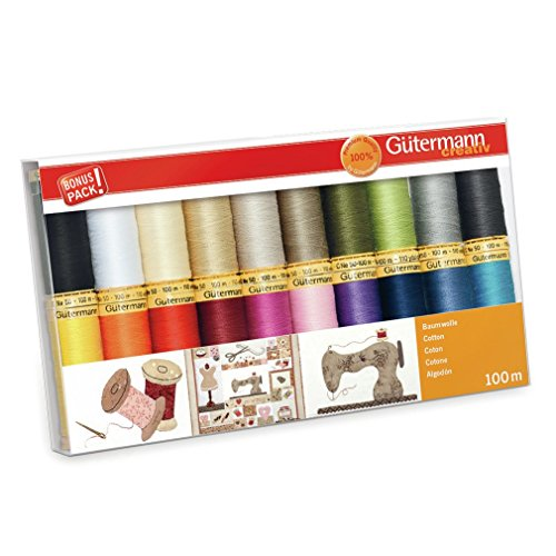 (Gutermann Colorful Cotton 50 Mercerized Thread Set 20 x 100m Reels )