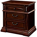 HOMES: Inside + Out ioHOMES Ardel Diamond Carved 2-Drawer Nightstand, Cherry