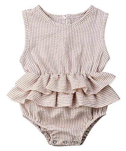Newborn Infant Baby Girl Clothes Lace Halter Backless Jumpsuit Romper Bodysuit Sunsuit Outfits Set (Striped Light Coffee, 12-18 Months)