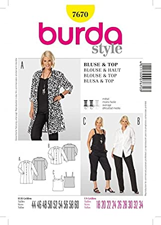 Burda 7670 Schnittmuster für Damen, Bluse und Top, Größen 44-60 ...