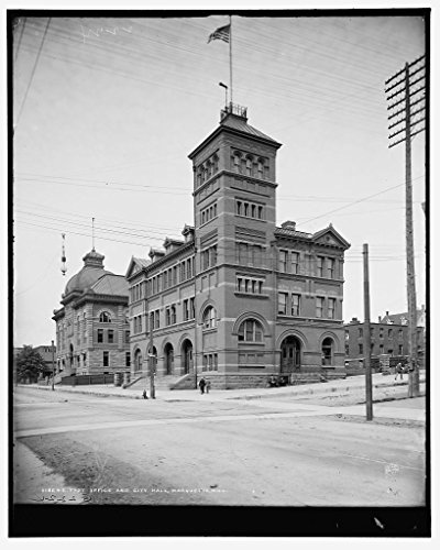 (Vintography 16 x 20 Ready to Hang Canvas Wrap Post Office and City Hall Marquette Mich 1903 Detriot Publishing 30a)