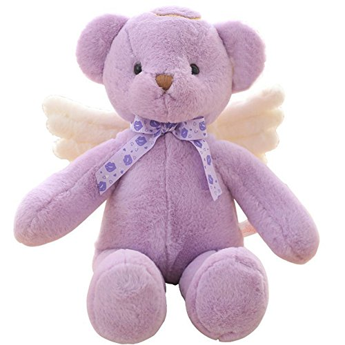 YXCSELL Lavender Angel Cute Soft Plush Stuffed Animals Small Teddy Bear with White Wings Get Well Gift Sympathy Gift (Well Wings)