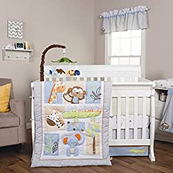 Trend Lab Jungle Fun Boy's 6 Piece Crib Bedding Set, Blue