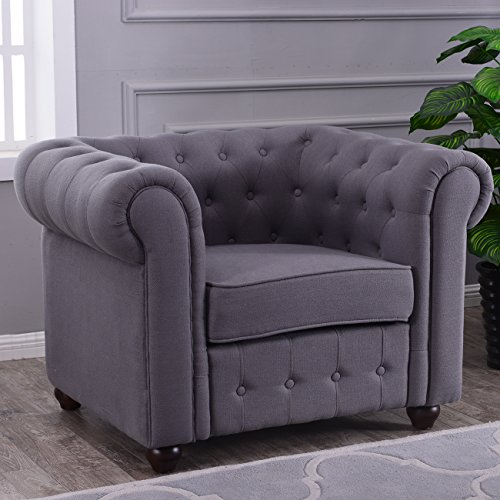 Belleze Classic Tufted Linen Fabric Accent Chair Armchair Tufted Club Chair, (Charcoal)