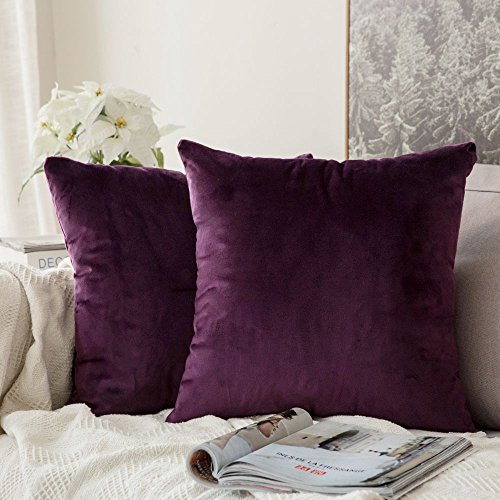 Curtains Eggplant (MIULEE Pack of 2, Velvet Soft Soild Decorative Square Throw Pillow Covers Set Cushion Cases Pillowcases for Sofa Bedroom Car18 x 18 Inch 45 x 45 cm)