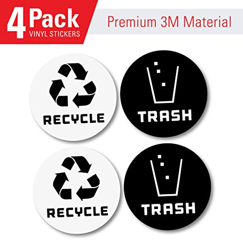 4 Pack  Recycle Logo and Trash can Sticker to Organize Your