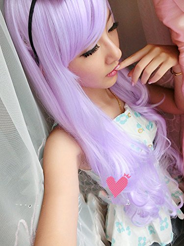 Womens/Ladies 80cm Light Purple Color Long CURLY Cosplay/Costume/Anime/Party/Bangs Full Sexy Wig (Lolita Light Purple)