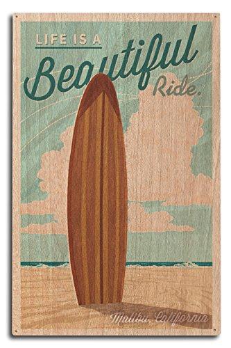 - Malibu, California - Life is a Beautiful Ride - Surfboard - Letterpress (10x15 Wood Wall Sign, Wall Decor Ready to Hang)