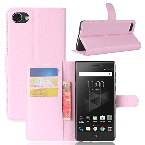 (Compatible for BlackBerry Motion Case,MYLB Litchi Skin PU Leather [Wallet Flip Cover] [Card Holder] Stand Magnetic Folio Case for BlackBerry Motion (Pink))
