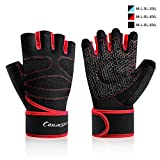 Weight Lifting Gloves, Anti-Callus Exercise Gloves Panda Foam Pad Full Palm, Durable Weight Gloves with Wrist Strap Support and Velcro Workout Gloves, Men &Women Well-Ventilated Gym Gloves (Red, L)