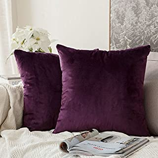 MIULEE Pack of 2 Velvet Soft Solid Decorative Square Throw Pillow Covers Set Cushion Case for Sofa Bedroom Car 16 x 16 Inch 40 x 40 cm Eggplant Purple