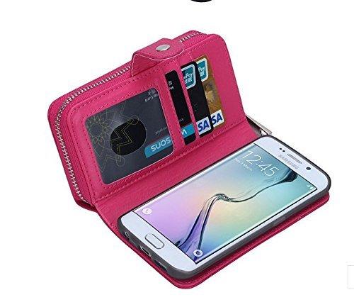 para iPhone 7 Plus Wallet Phone Case, Vandot Premium PU Cuero Caja del Teléfono de la Carpeta con Desmontable TPU Bumper Phone Shell y Ranuras Tarjeta de Crédito y Makeup Mirror Multifuncional Mano Bo Zip 02