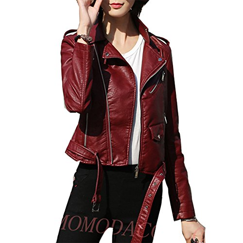 HongDiHao Womens's Lapel Collar Slant Zipper Long Sleeve Faux PU Leather Jacket Outwear Belted Design Motorcycle (U.S.A. X-Large, Dark Red) (Leather Belted Motorcycle Jacket)