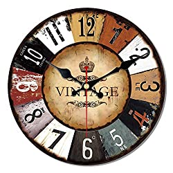 MEISTAR 16 Inch Wall Clock Silent Non Ticking Wall Clocks Large Decorative Quality Quartz Movement Decorated Living Room, Kitchen